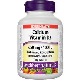 Webber Naturals Calcium 650 mg + Vitamín D3 400 IU